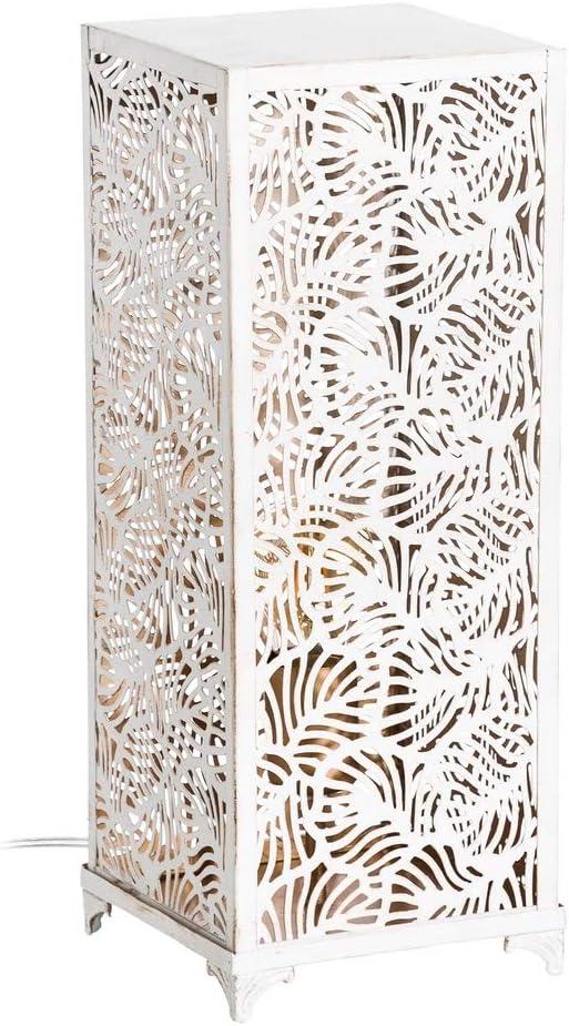 Lámpara de sobremesa blanca de metal étnica para decoración Vitta - LOLAhome: Amazon.es: Iluminación