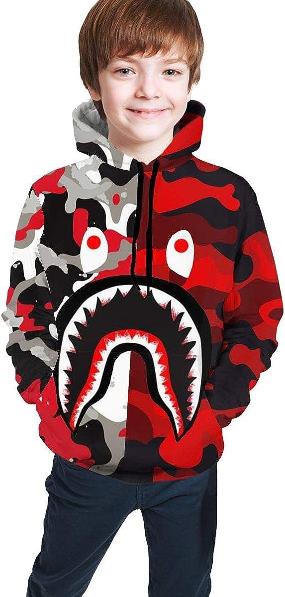 Bape Blood Shark Boys Girls Sweatshirt Hoodies Pullover Hooded Clothes with Pocket