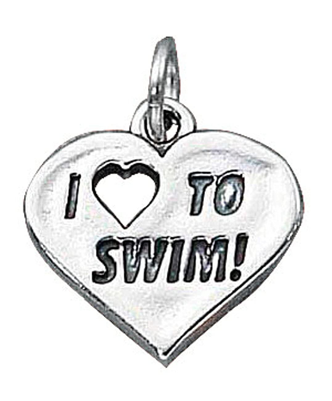 Sterling Silver Girls .8mm Box Chain I LOVE TO SWIM Word Pendant Necklace
