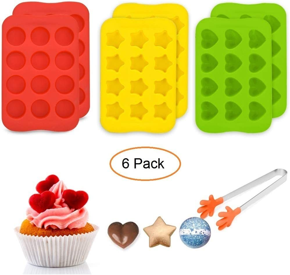 VIWIEU Small Novelty Silicone Molds for Candy Chocolates Gummy Cakes 6 Set - Heart, Star, Mini Cup Shaped Ice Cube Trays for Baby Food Dog Treats Bath Bomb, with 1 Bonus Food Holder Tong Gift Choice