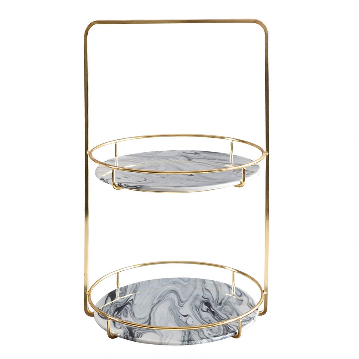 ALPS Marble Jewelry Tray with Polished Gold Metal Handles
