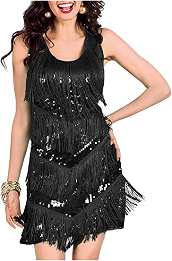 1920s Flapper Dress Great Gatsby Sequins Fringeds Cocktail Party Vintage Dresses