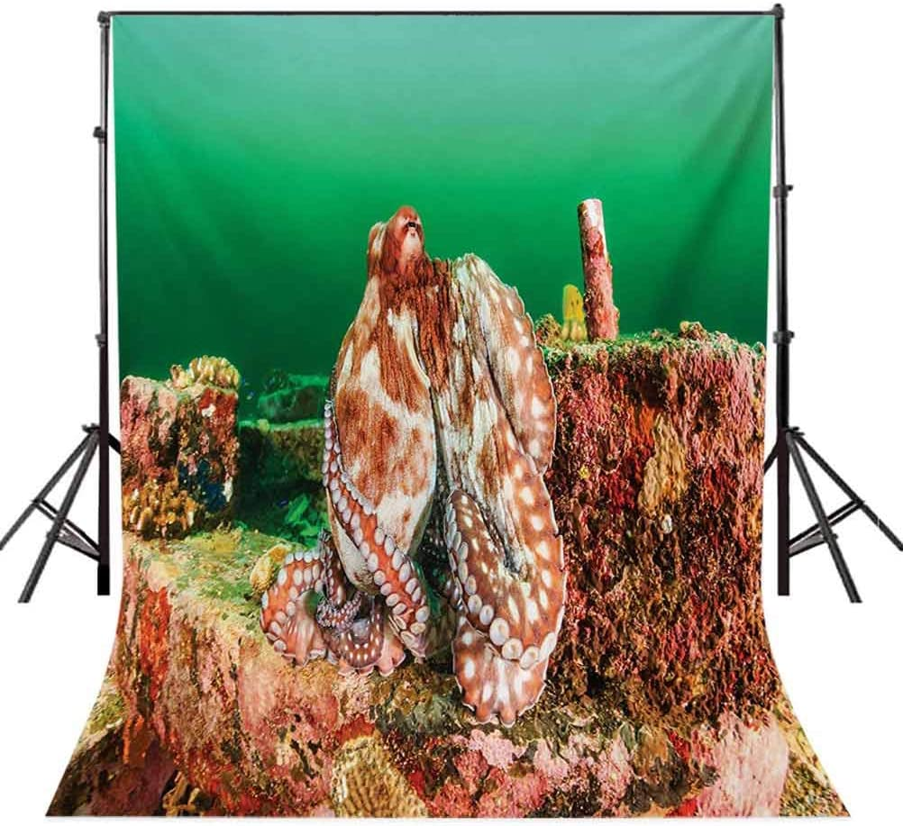 Ocean 10x15 FT Photo Backdrops,Large Octopus Hiding on Manmade Debris in Dark Murky Water Tropical Wild Picture Background for Baby Birthday Party Wedding Vinyl Studio Props Photography Green Brown R