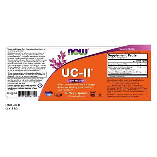 NOW Supplements, UC-II Type II Collagen with Undenatured Type II Collagen, 60 Veg Capsules
