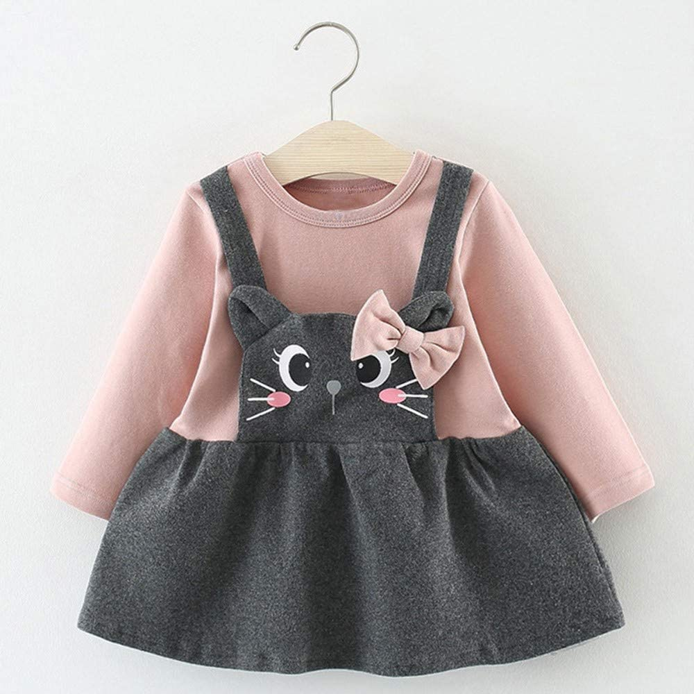 Girls Dresses Toddler Kids Baby Shirt Long Sleeve Cartoon Cat Print Bow Party Tops Princess Clothes