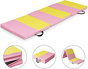 """Giantex 2"""" Thick Folding Exercise Mat with Carrying Handles, 6 ' Tri-Fold Folding Gymnastics Mat for Home Gym, High Density Anti-Tear Exercise Aerobics Mat for Aerobics, Yoga, Stretching, MMA"""