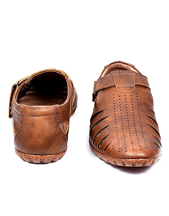 277edac0305a Peponi Men s Beige Faux Leather Fisherman Casual Sandals and Floaters  Buy  Online at Low Prices in India - Amazon.in