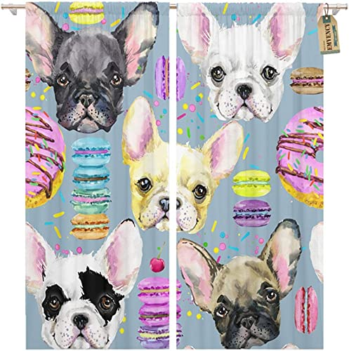 Emvency Thermal Blackout Curtains/Drapes Set of 2 Panels 52″ W x 96″ L Colorful Donut Cute Dog French Bulldog Watercolor Puppy Sweet Dessert Pattern Window Curtain