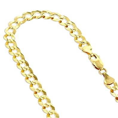 3b340a1de Amazon.com: IcedTime Solid 10K Yellow Gold Italy Cuban Curb Link Chain  Necklace 3mm Wide 18
