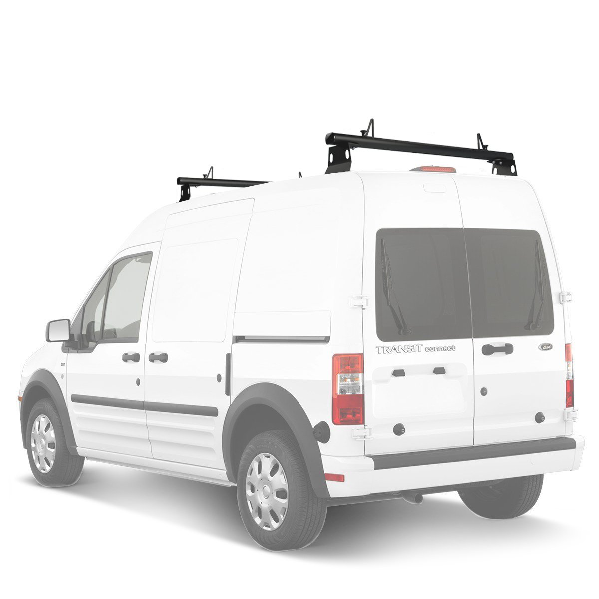 AA Products Inc. AA-Racks Model ADX32-TR Ford Transit Connect 2008-13 Aluminum 2 Bar (60') Utility Drilling Van Roof Rack System with Ladder Stopper Gloss White