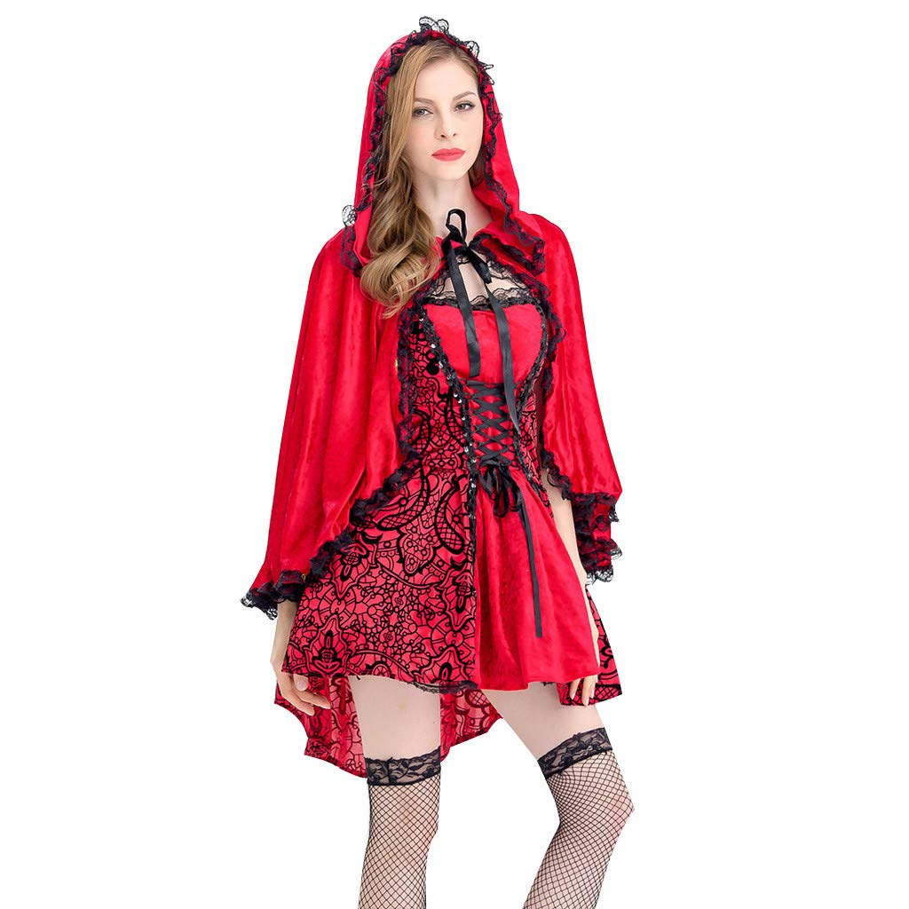 Onegirl Halloween Cosplay Party Clothes for Women Sexy Red Costume with Hooded Cloak Lace Sleeveless Dress