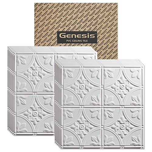 GENESIS - Antique White 2x2 Ceiling Tiles 3 mm Thick (Carton of 12) - These 2'x2' Drop Ceiling Tiles are Water Proof and Won't Break - Fast and Easy Installation (2' x 2' Tile) (Faux Drop Ceiling Tiles)