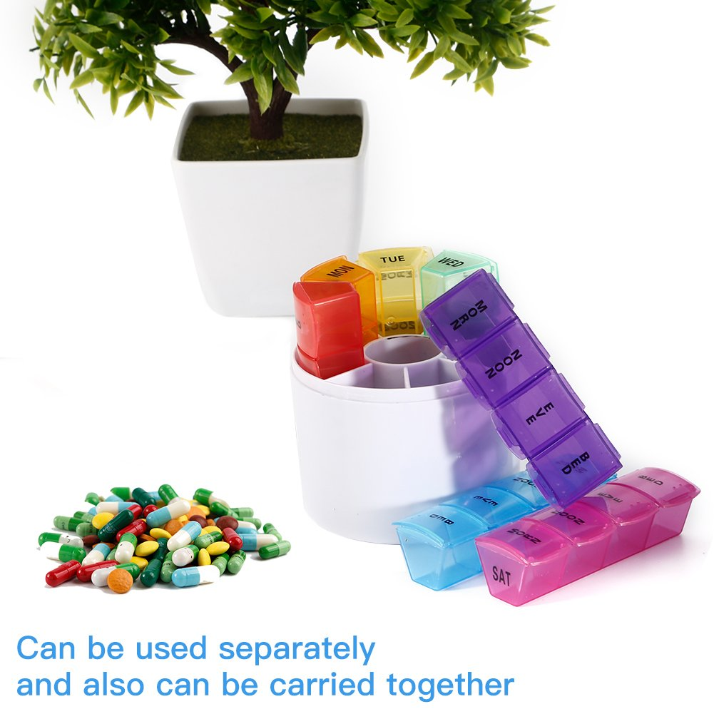 7 Days Pill Organizer Box, GSLL Medicine Remainder Round Small Pill Case 28 Compartments Rainbow Color by GSLL (Image #8)