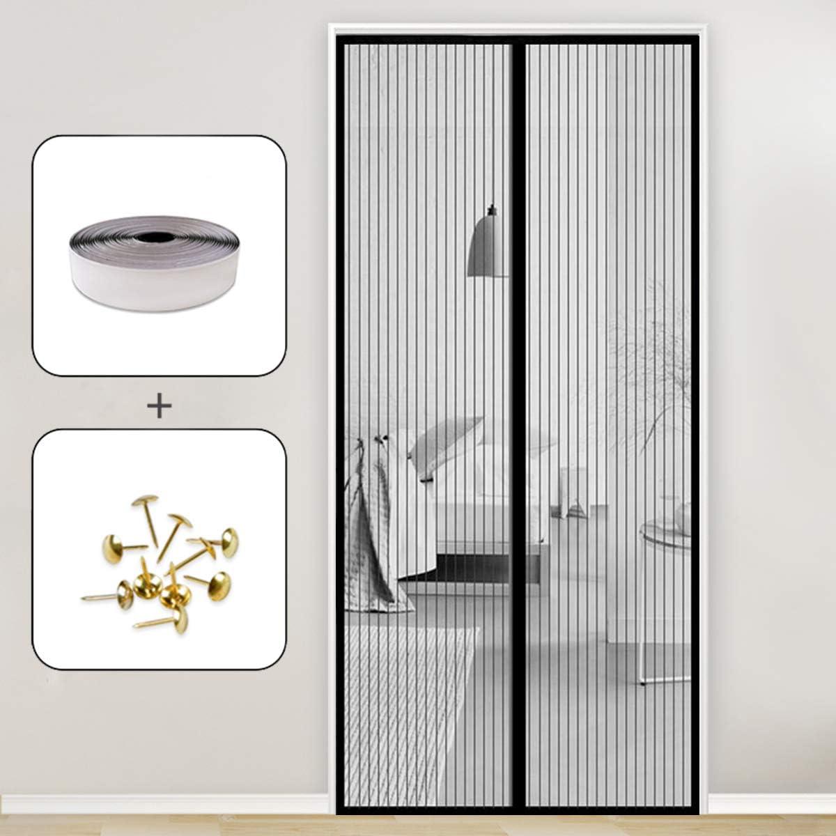 GOUDU Mosquitera Puerta Magnetica, 75x210cm Mosquiteras Enrollables Magnética Automático Cierra Automáticamente para Puertas Correderas/Balcones/Terraza, Negro A: Amazon.es: Hogar