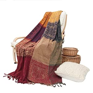 UNIGARDEN Chenille Jacquard Tassels Throw Blankets for Bed Couch Decorative Soft Chair Cover (Tribal Pattern/B, Medium)