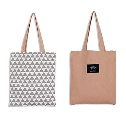 LAAT Bolsa para la compra plegable y reutilizable – Bandolera de algodón, una solución ecológica para ir al mercado – 5 colores, Rose, 37x33cm