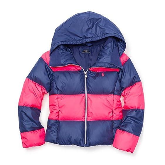 Polo Ralph Lauren Girl's Rugby Down Jacket, Medium, Pink/Navy