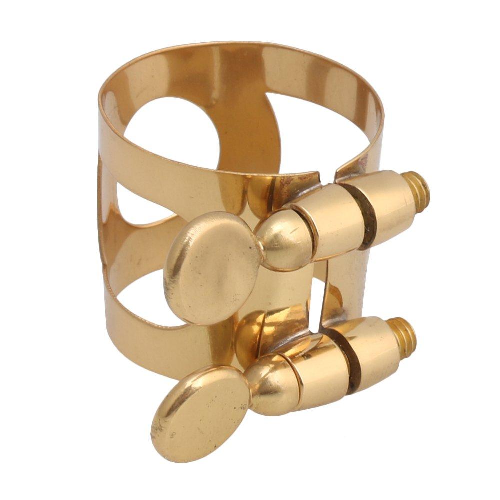 Yibuy 22mm Dia Gold Metal Saxophone Ligature Tornillos dobles Nickel plateado Soprano Sax Ligature etfshop Yibuy13