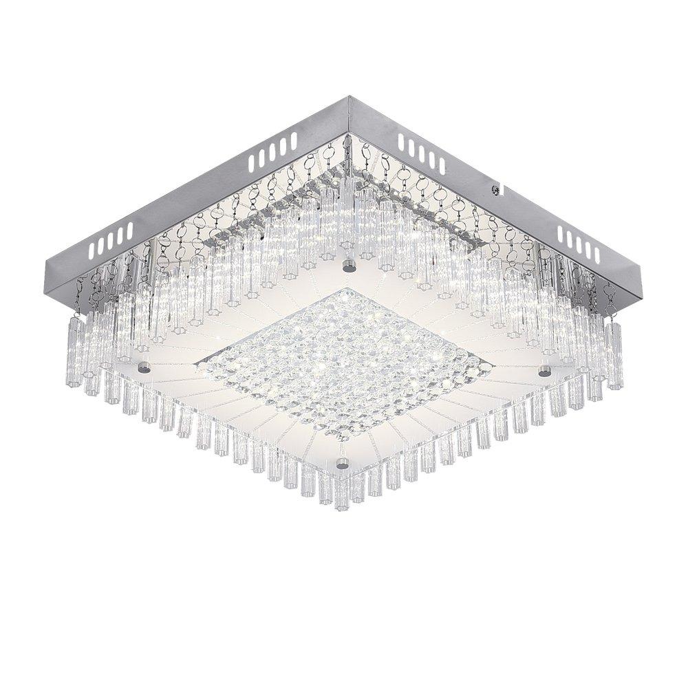Auffel Morden LED Chandelier,Dimmable Ceiling Light Fixture K9 Crystal+Glass+Metal Raindrop Flush Mount lamp,14 Inch 1980ML 4000K Daylight White Kitchen Light Fixture for Bathroom,Hallway,Bedroom