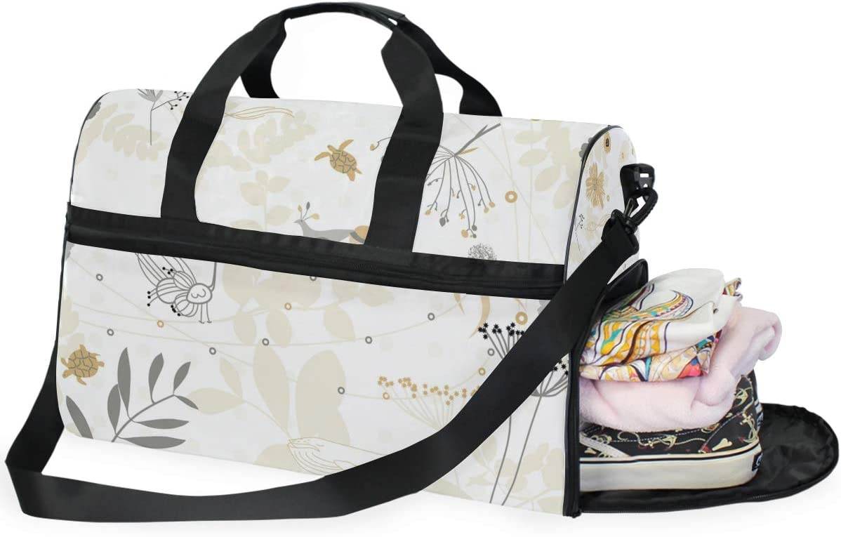FANTAZIO Abstract Animals And Floral Sports Duffle Bag Gym Bag Travel Duffel with Adjustable Strap