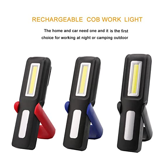 Amazon.com: Rojo : Portátil COB LED linterna luz de Trabajo magnética USB linterna recargable de pantalla colgante antorcha lámpara para acampar al aire ...