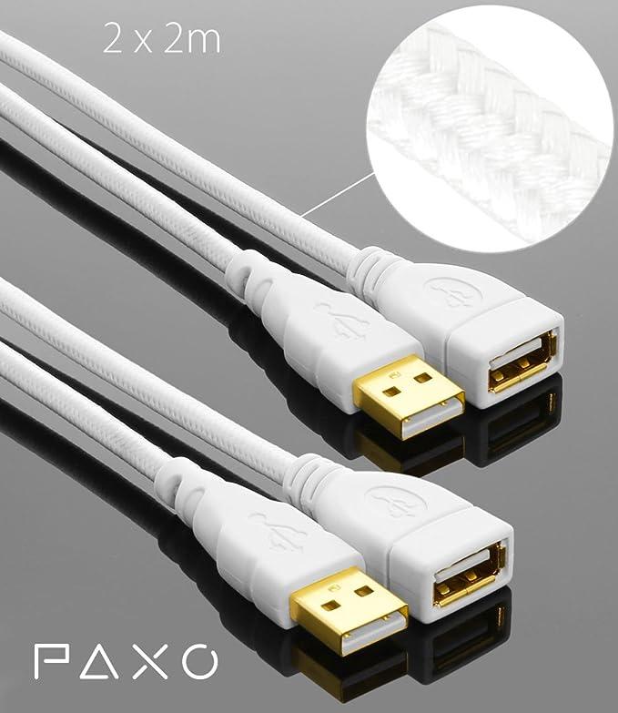 11 opinioni per 2 x 2m PAXO USB cavo prolunga A-A, connettori placcati oro, cavo intrecciato,