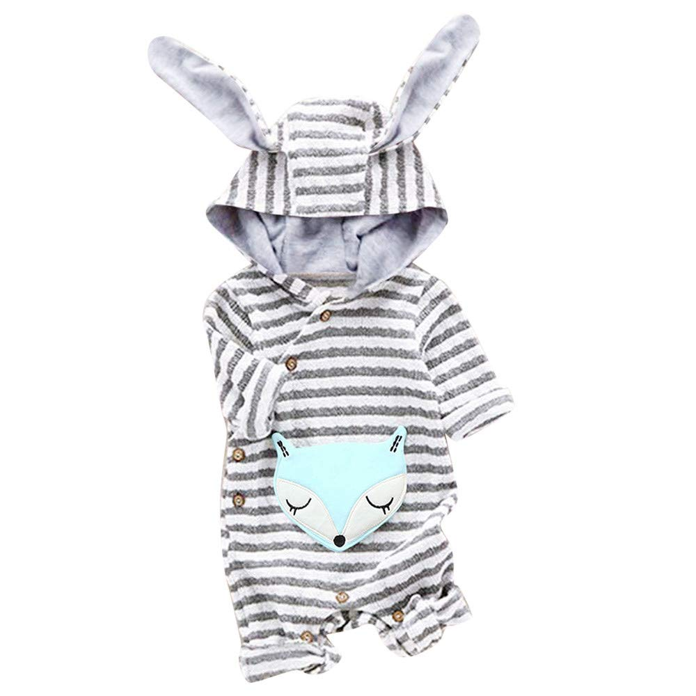 Kobay Universal Baby Suit Newborn Toddler Baby Girls Boys Cartoon Fox Striped Ear Hooded Romper Jumpsuit Outfits for 0-2 Years