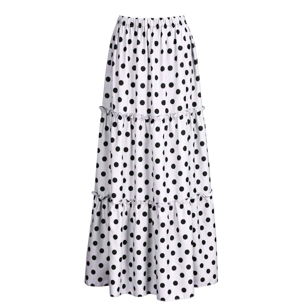 Women's Plus Size Boho Skirt Casual Polka Dot Printed Ruffled Skirt Summer Loose High Waist Pleated Swing Long Skirts (White, XXXL)