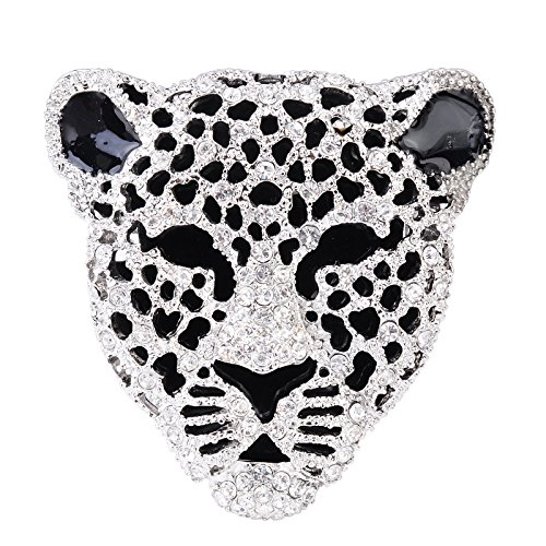 OBONNIE Vintage Black Enamel Spotted Leopard Head Rhinestone Crystal Animal Brooch Pin Lapel Pin Badge ()