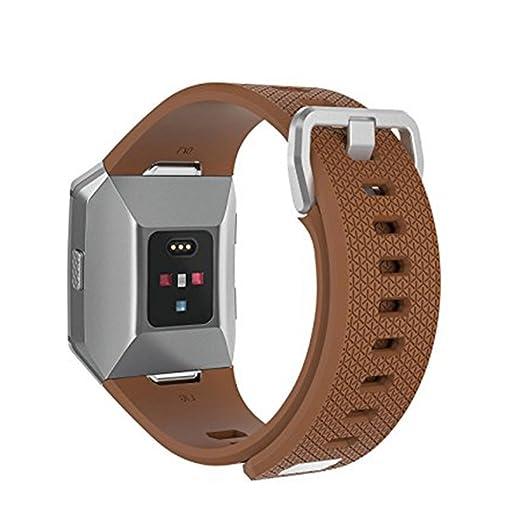 Sunlera Correa de silicona de metal hebilla de cinturón de fitness Muñequera Banda de reemplazo de accesorios blandos para Fitbit jónico: Amazon.es: Relojes