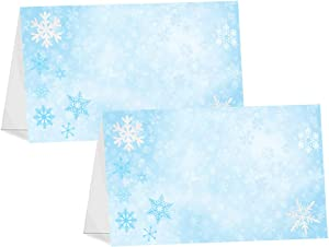 POP parties Snow Princess Table Tents - 12 Winter Wonderland Buffet Cards - Snowflake Place Cards - Snowflake Decorations - Winter Wonderland Party Decorations - Snowflake Party Supplies