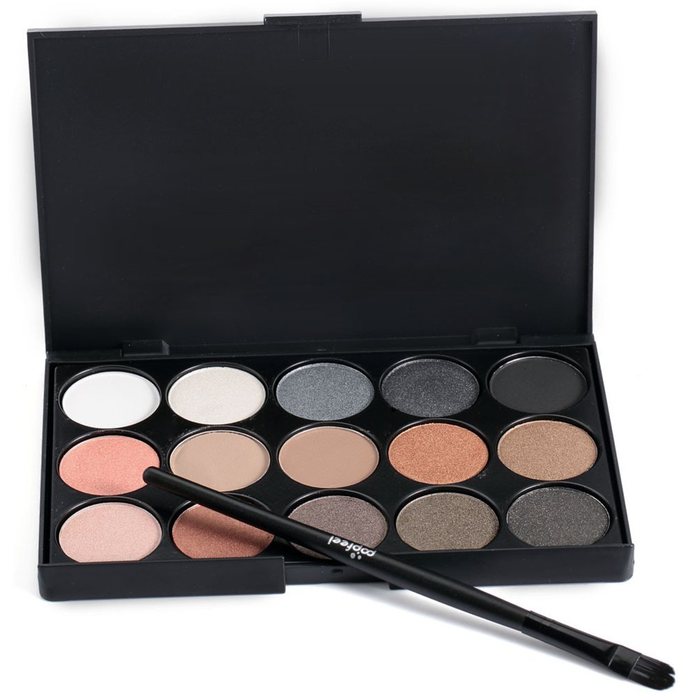 Pure Vie Pro 1 Pcs Make Up Brushes + 15 Colors Eyeshadow Palette Makeup Contouring Kit for Salon and Daily Use