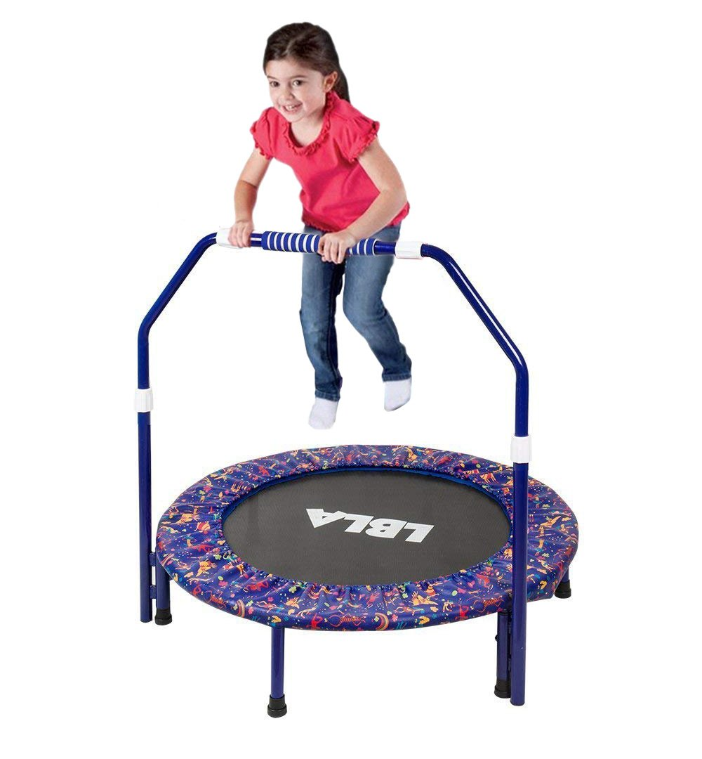 Ealing Kids Trampoline with Adjustable Handrail and Safety Padded Cover, Round Seaside Adventure Trampoline Mini Bouncer Mini Foldable Bungee Rebounder Jumping Mat by Beebeerun