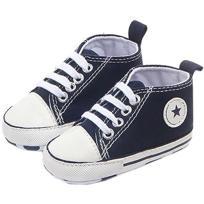 bettyhome Cotton Unisex Baby Boys Girls Newborn Navy Blue Canvas Soft Sole Infant Toddler Prewalker Sneakers (0-1 Year)