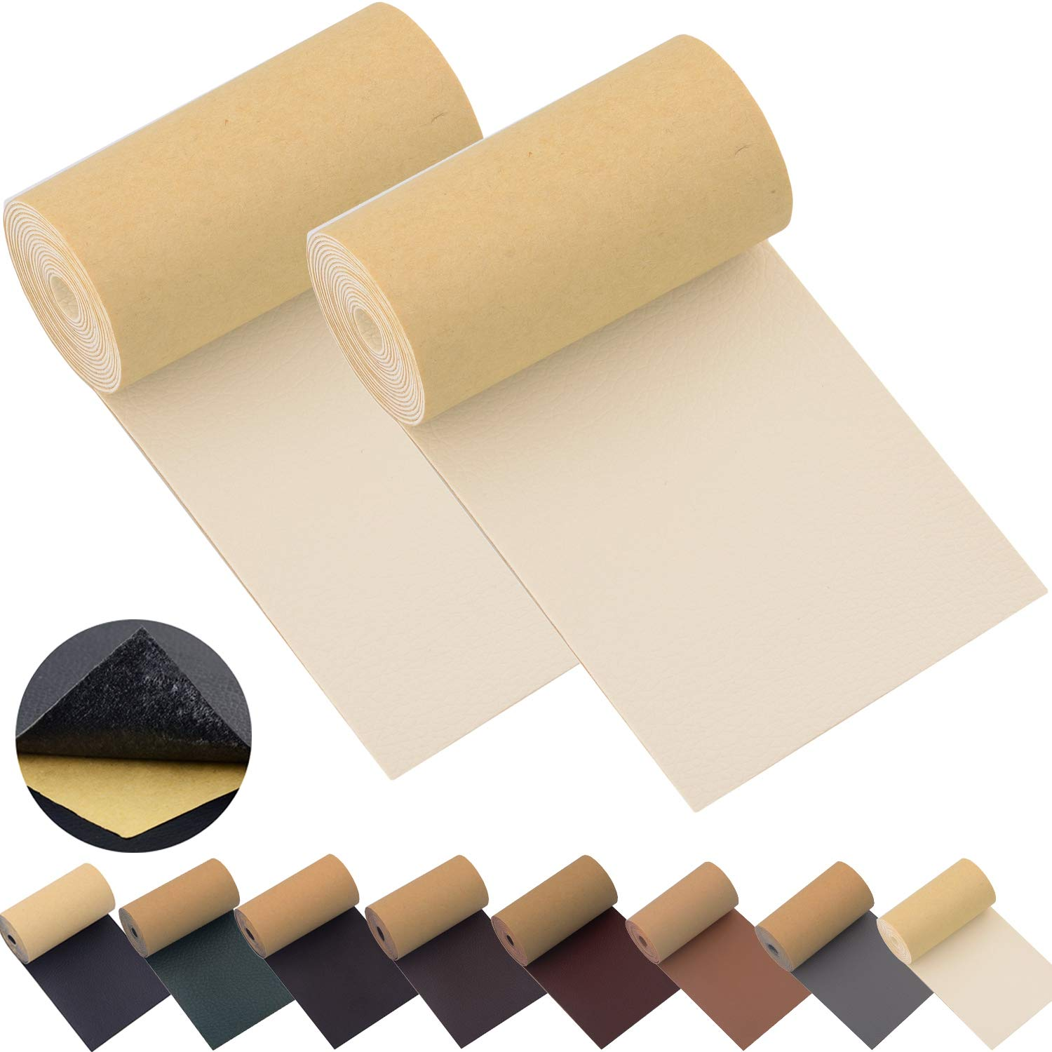 Leather Repair Patch Tape for Couches 2packs 3X55inch Self-Adhesive for Furniture Sofa Vinyl Car Seats Couch Chairs Shoes Down Jackets First Aid Patch Fix Tear Kit (Beige White, 3X55 inch)