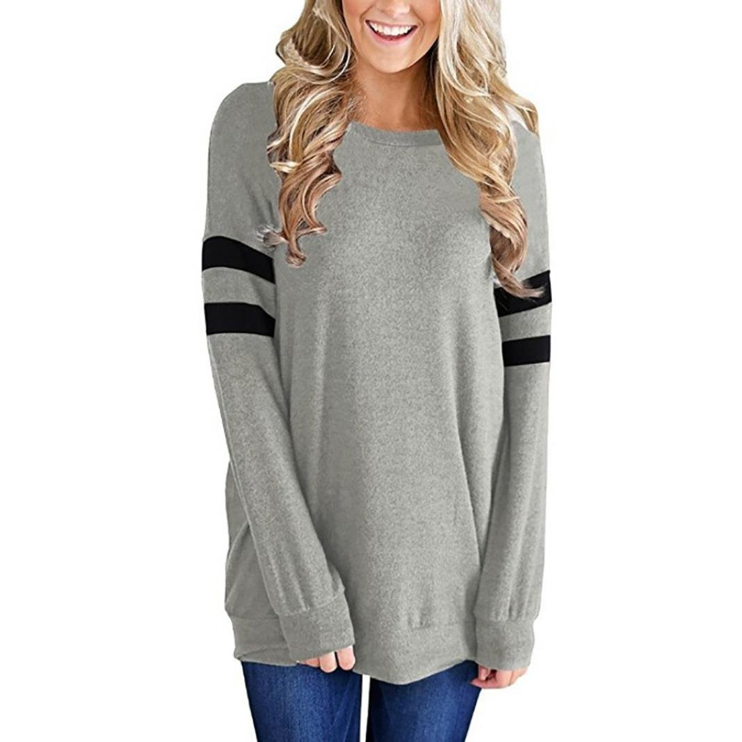 KaiCran Fashion Sweatshirt For Women Striped Blouse Tops Ladies Long Sleeve T-Shirt Tunic Tops