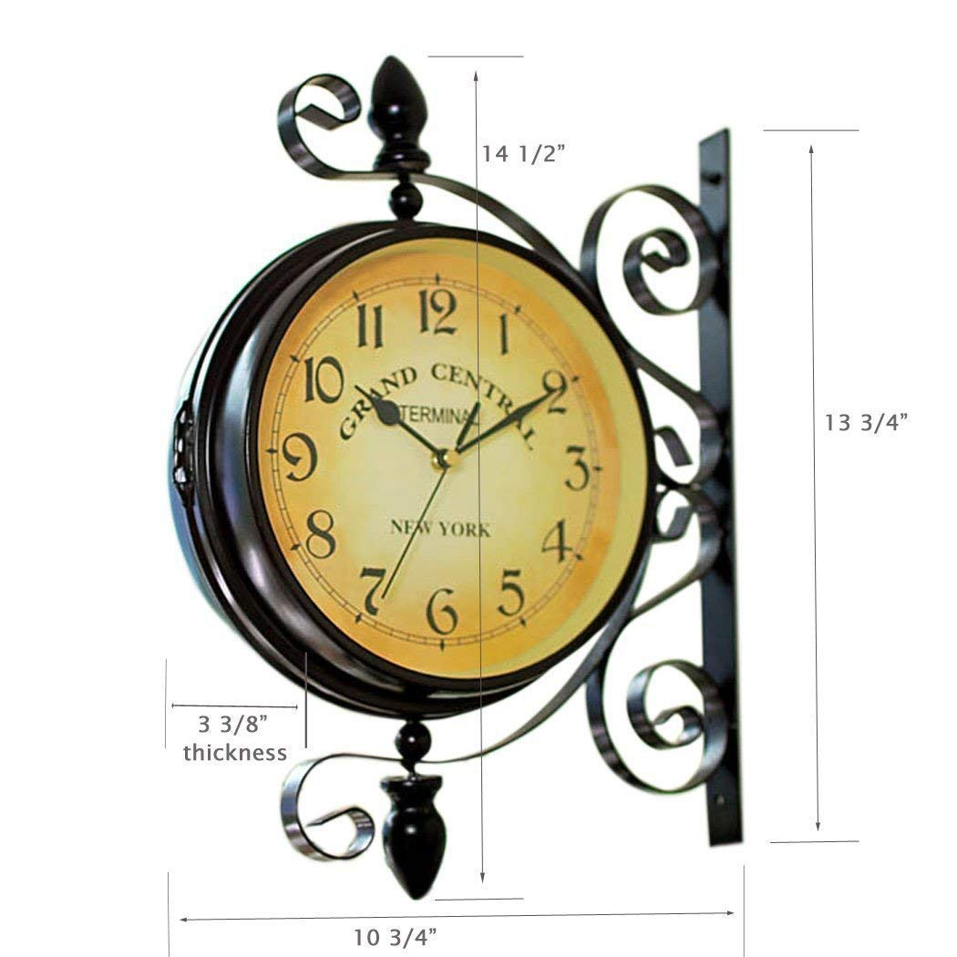 Homello Vintage Double Sided Wall Clock Iron Metal Silent Quiet Grand Central Station Wall Clock Art Clock Decorative Double Faced Wall Clock 360 Degree Rotate Antique Wall Clock Dark Brown Color