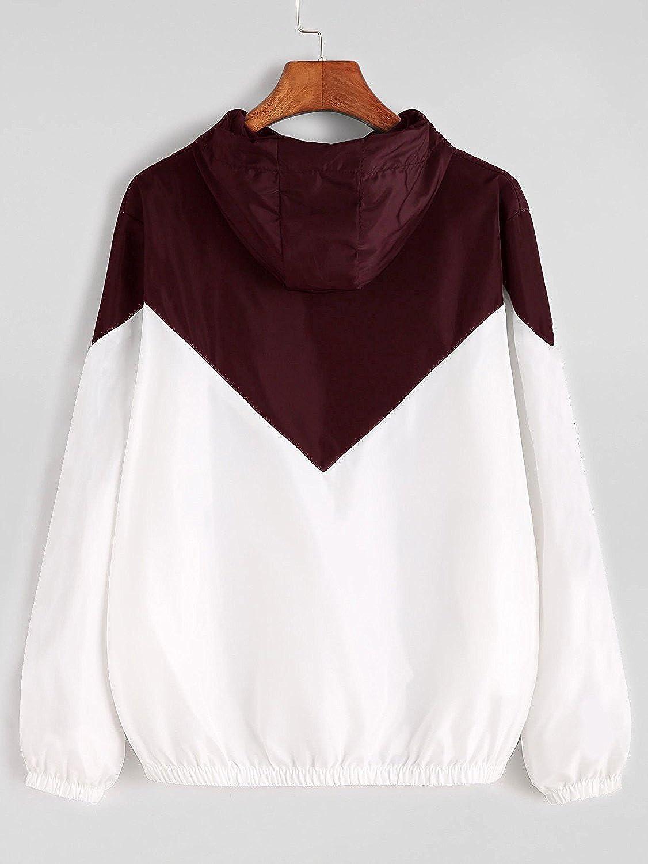 085aa570642e Milumia Women's Color Block Drawstring Hooded Zip Up Sports Jacket  Windproof Windbreaker