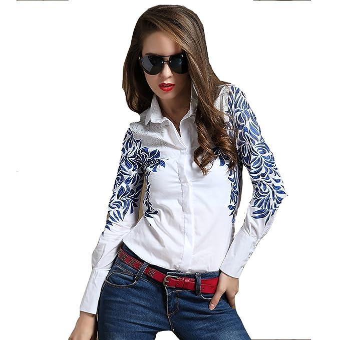 Ohlees® Nuevo para mujer cuello de solapa gasa blusas Tops Camisa de manga larga con estampado de flores Blanco blanco Small: Amazon.es: Ropa y accesorios