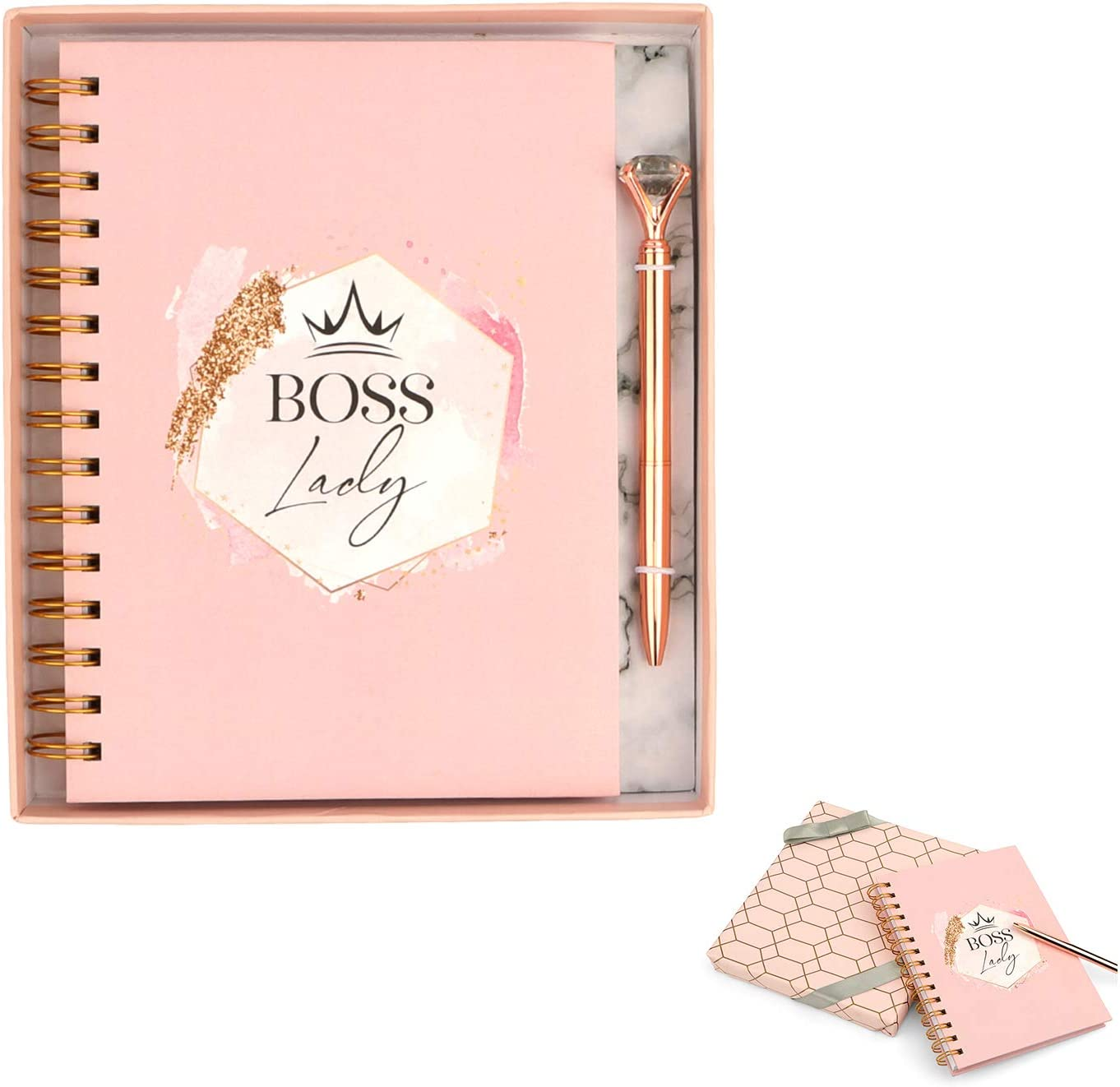 Boss Lady Notebooks for Women I Cute Spiral Journal Notebook with Diamond Pen by NINE ROYAL in a Gift Box - Rose Gold I Hard Cover, Thick and Lined Paper - Great Home or Office I Writing Journal