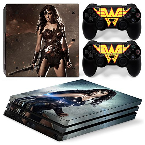FriendlyTomato PS4 Pro Skin and DualShock 4 Skin - Super Hero WW - PlayStation 4 Pro Vinyl Sticker for Console and Controller Skin