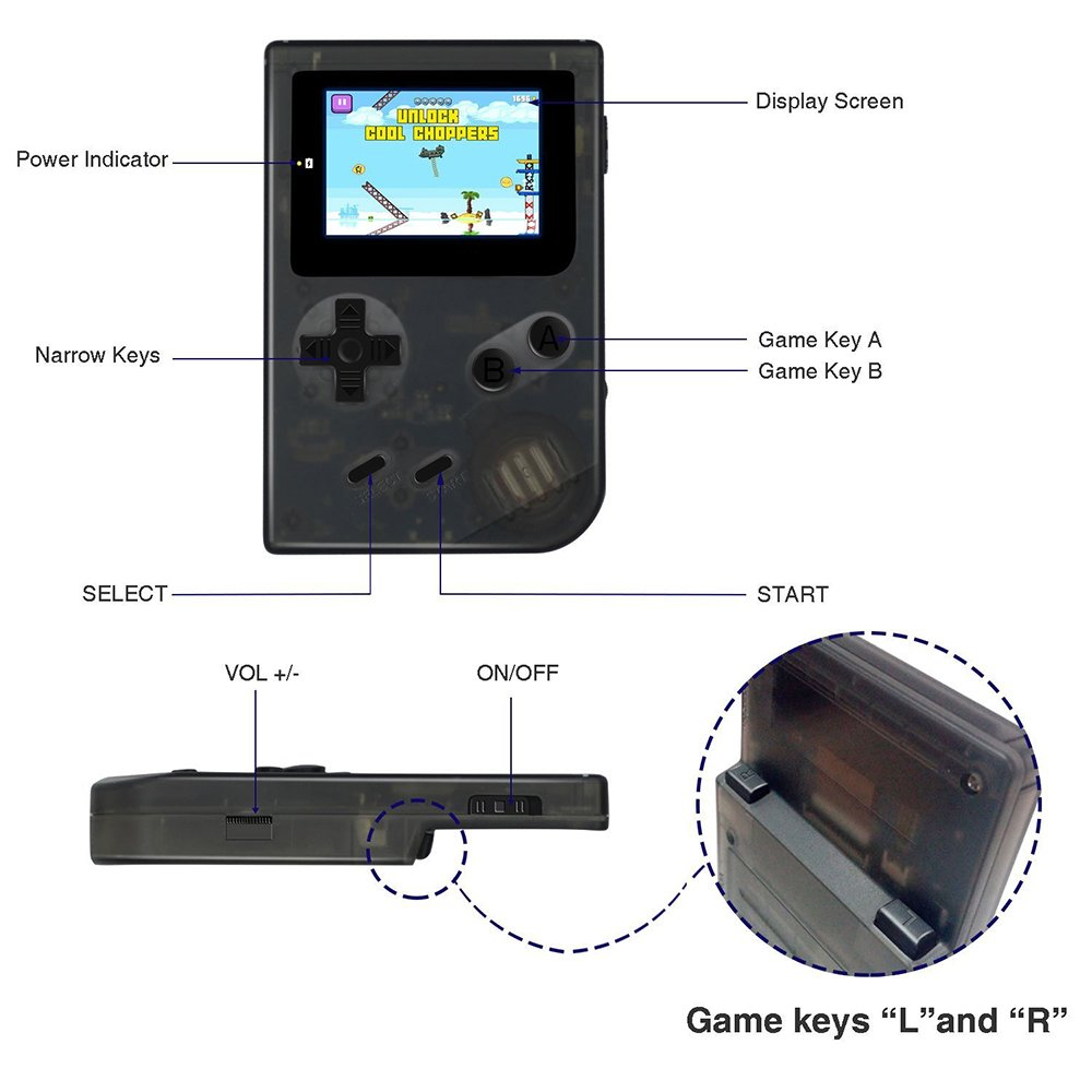 QUMOX Consola de Juego portátil Sistema Mini GBA Retro 2´´ HD Pantalla 613 Juegos clásicos (40 incorporados + 573 Disponibles para descargar), Regalos ...