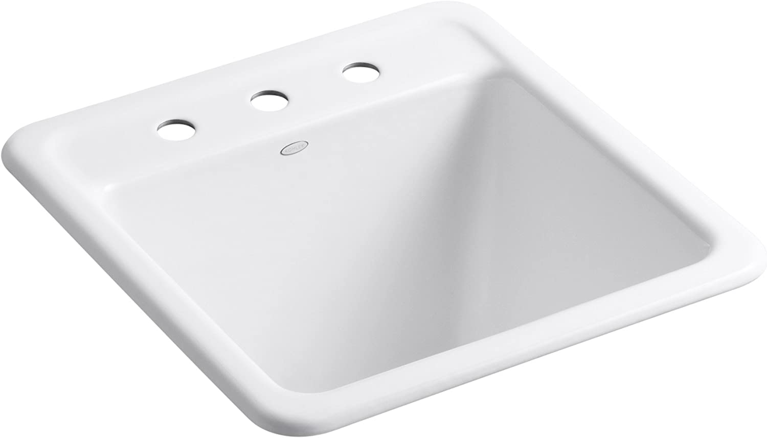 KOHLER K-19022-3-0 Park Falls Top-Mount/Undermount Utility Sink with Three Faucet Holes, White