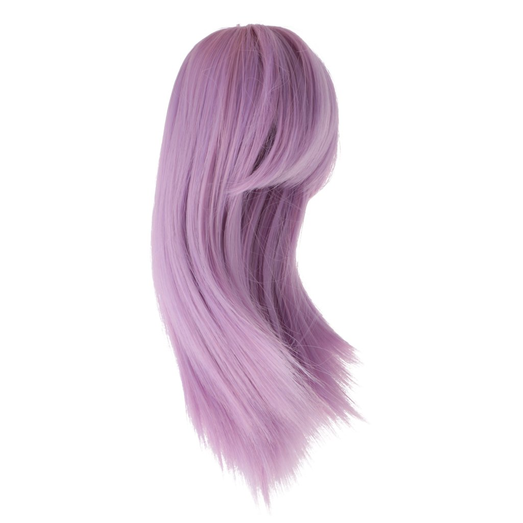MagiDeal Purple Inclined Bang Straight Hairpiece Wigs Hair for 18 Inch American Girl Doll Accessories