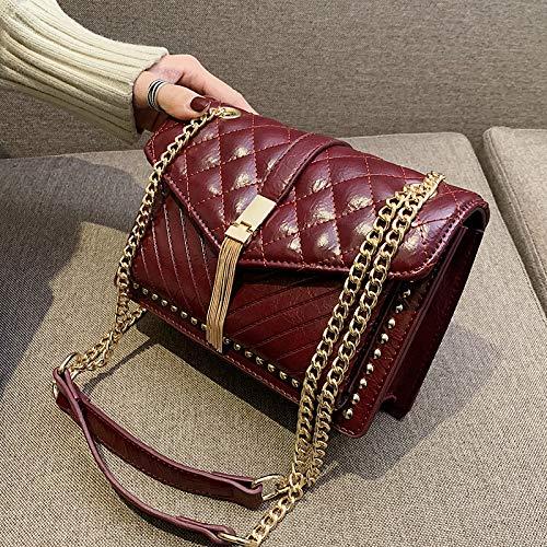 Bag Femelle Lingge Messenger Xmy Carré Chaîne Rouge Mode Sauvage Vin Sac Petit w7XqRnxRUH