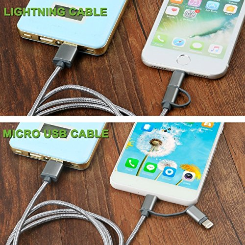 2N1 Wall Car Charger and 6ft USB Nylon Charging Cable Works with iPhone Android Cell Phones & Electronic Devices (White) by 2N1 (Image #7)