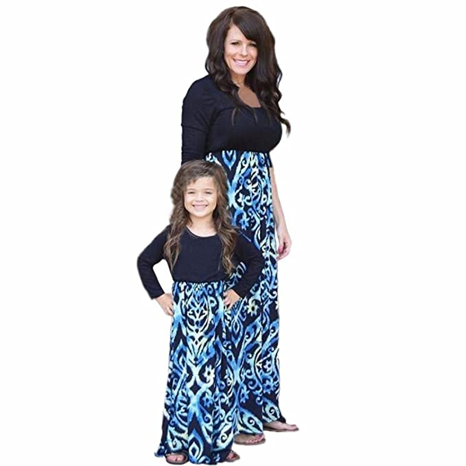 fd39caaee61 Tenworld Autum Long Sleeve Family Matching Mother Daughter Outfits Dress ( Mother S)