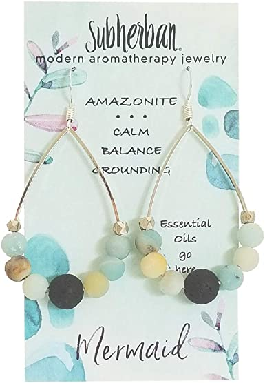 Diffuser Earring /& Necklace Set essential oil earrings and necklace Big Earrings and Necklace Blue Accent Beads Lava Bead Jewelry