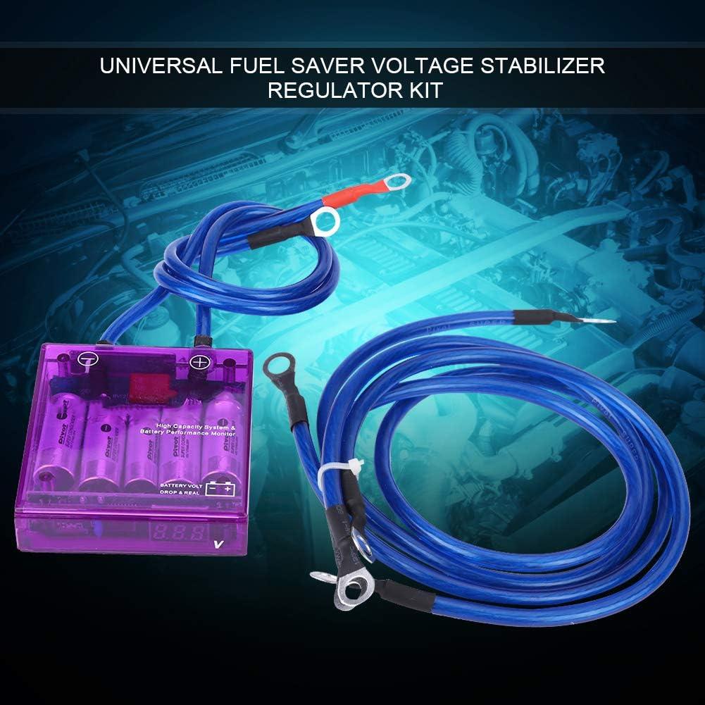 Black Qiilu Replacement Vehicle Voltage Regulator 12V Universal Car Fuel Saver Voltage Stabilizer Volt Regulator Kit 3 Earth Ground Cables for Cars and Trucks Blue