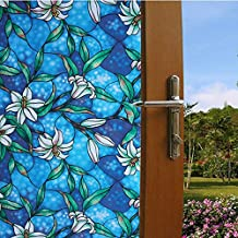 """LikeSnow 3D No-glue Privacy Window Film Stained Glass Cling Heat Control Anti UV Decorative Film Color-Printed Opaque Window Decor Glass Door Films 35.4""""by78.7""""(Orchid)"""